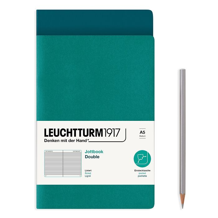 Jottbook (A5), 59 numbered pages, ruled, Pacific Green and Emerald, Pack of 2