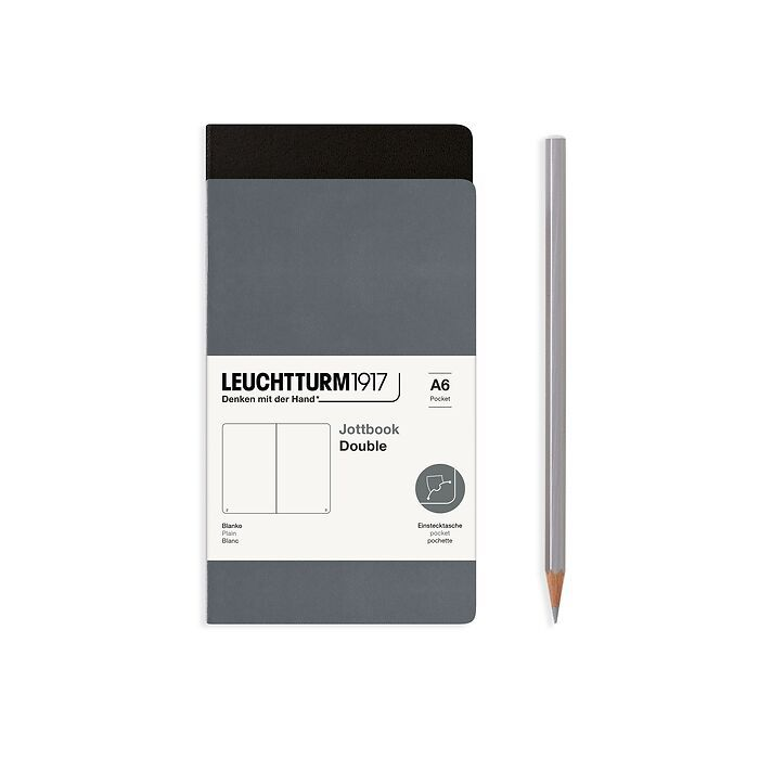 Jottbook (A6), 59 numbered pages, plain, Black and Anthracite, Pack of 2