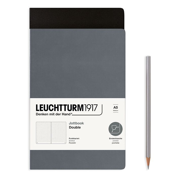 Jottbook (A5), 59 numbered pages, dotted, Black and Anthracite, Pack of 2