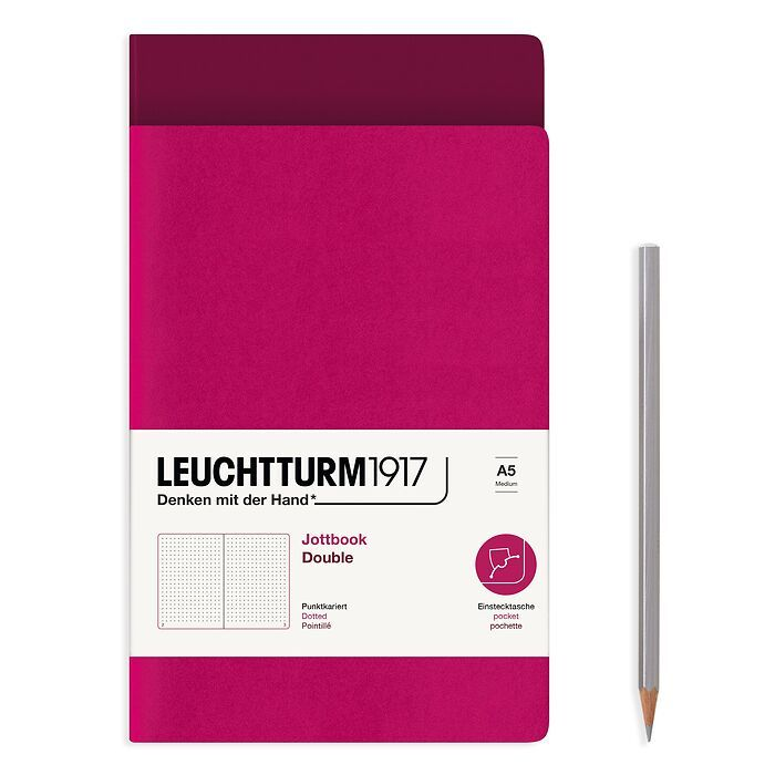 Jottbook (A5), 59 numbered pages, Dotted, Port Red & Berry, Set of 2