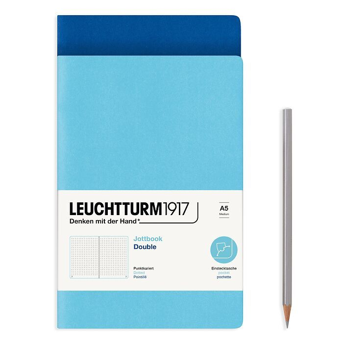 Jottbook (A5), 59 numbered pages, dotted, Royal Blue & Ice Blue, Pack of 2