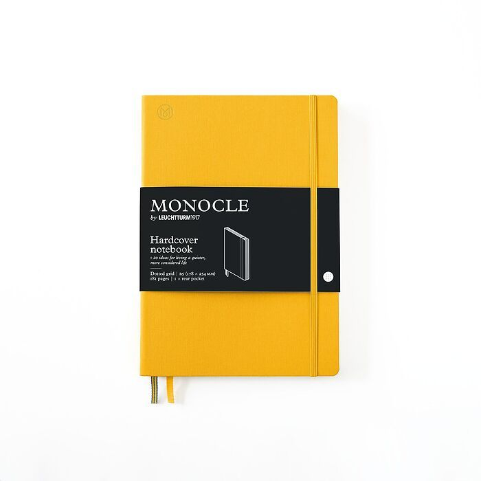 Notebook B5 Monocle, Hardcover, 192 numbered pages, Yellow, dotted
