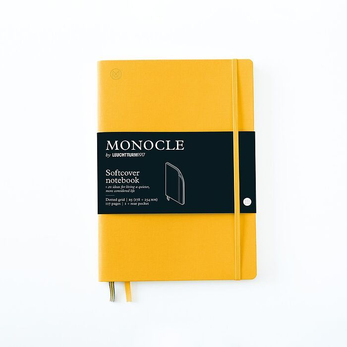 Notebook B5 Monocle, Softcover, 128 numbered pages, Yellow, dotted