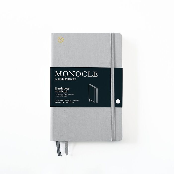 Notebook B6+ Monocle, Hardcover, 192 numbered pages, Light Grey, dotted