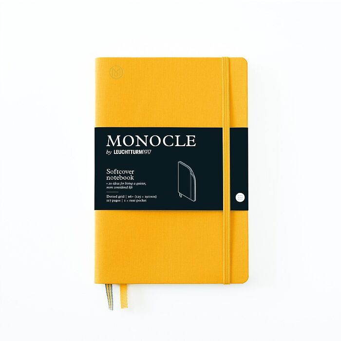 Notebook B6+ Monocle, Softcover, 128 numbered pages, Yellow, dotted