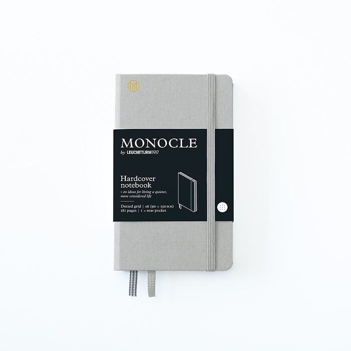 Notebook A6 Monocle, Hardcover, 192 numbered pages, Light Grey, dotted