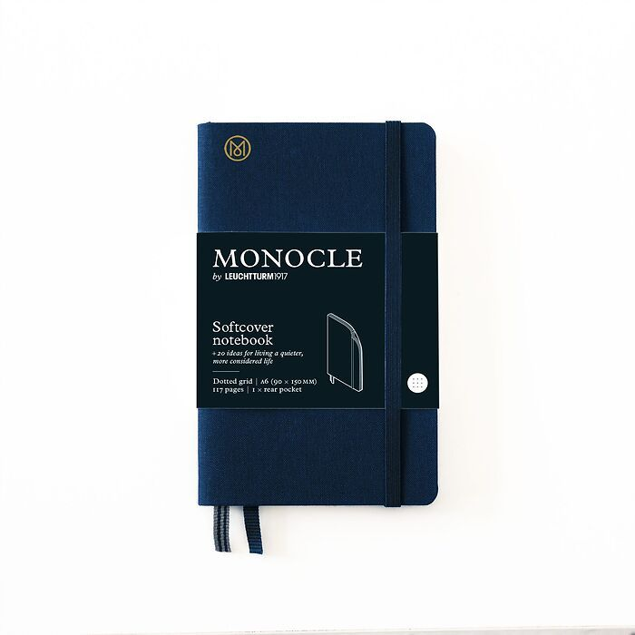Notebook A6 Monocle, Softcover, 128 numbered pages, Navy, dotted
