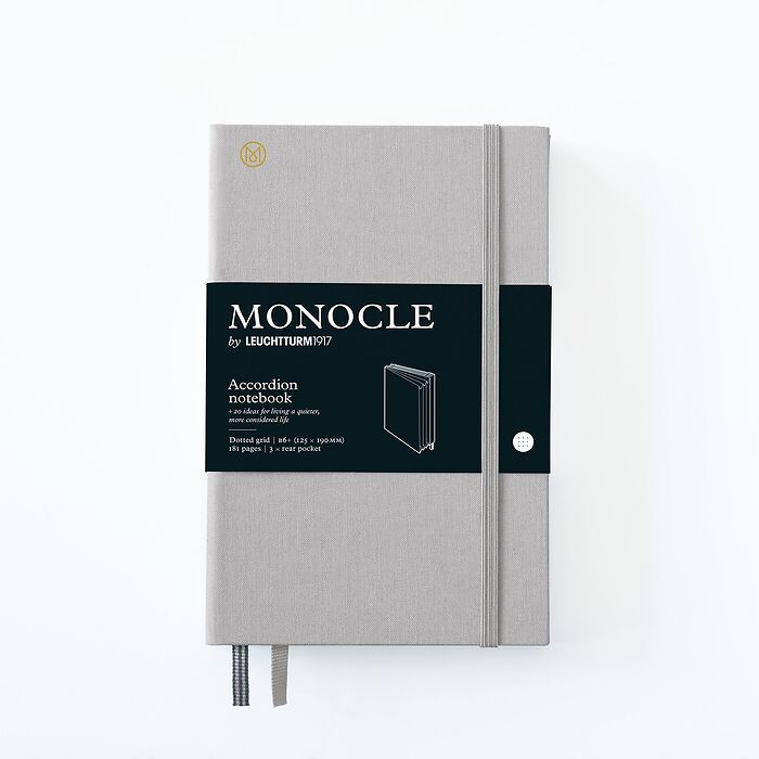Monocle Accordion Notebook B6+, Hardcover, 192 numbered pages, Light Grey, dotted