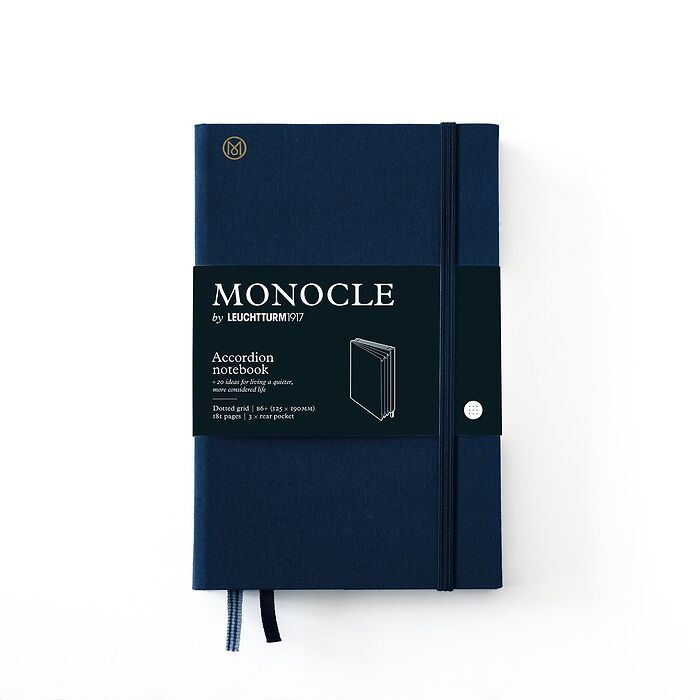 Monocle Accordion Notebook B6+, Hardcover, 192 numbered pages, Navy, dotted