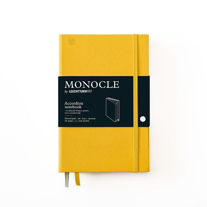 Monocle Accordion Notebook B6+, Hardcover, 192 numbered pages, Yellow, dotted