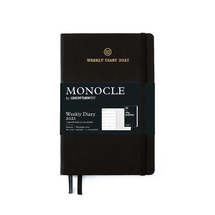 Weekly Planner & Notebook Monocle, Paperback (B6+) 2021, with booklet, Black, English
