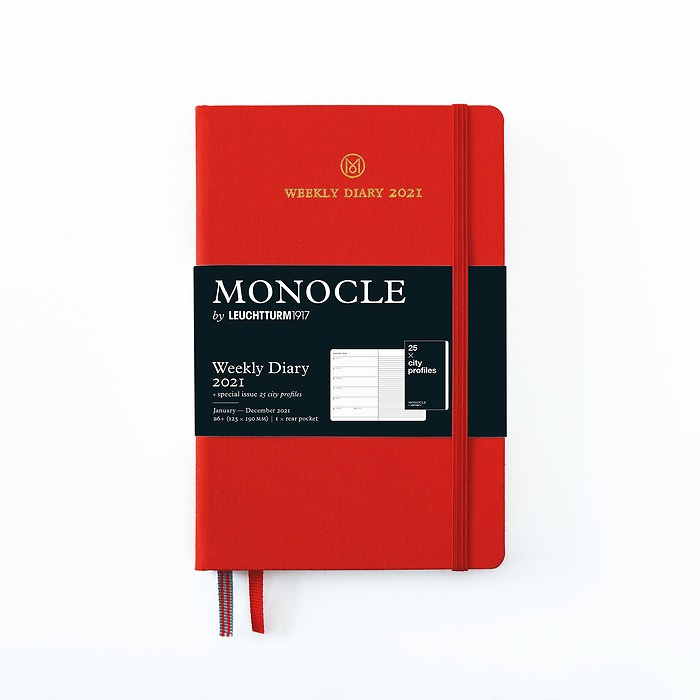Weekly Planner & Notebook Monocle, Paperback (B6+) 2021, with booklet, Red, English