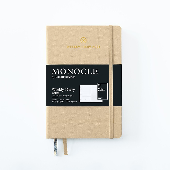 Weekly Planner & Notebook Monocle, Paperback (B6+) 2021, with booklet, Sand, English