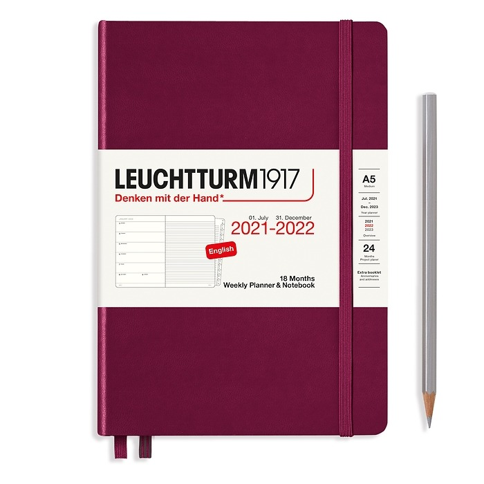 Weekly Planner & Notebook Medium (A5) 2022, with booklet, 18 Months, Port Red, English