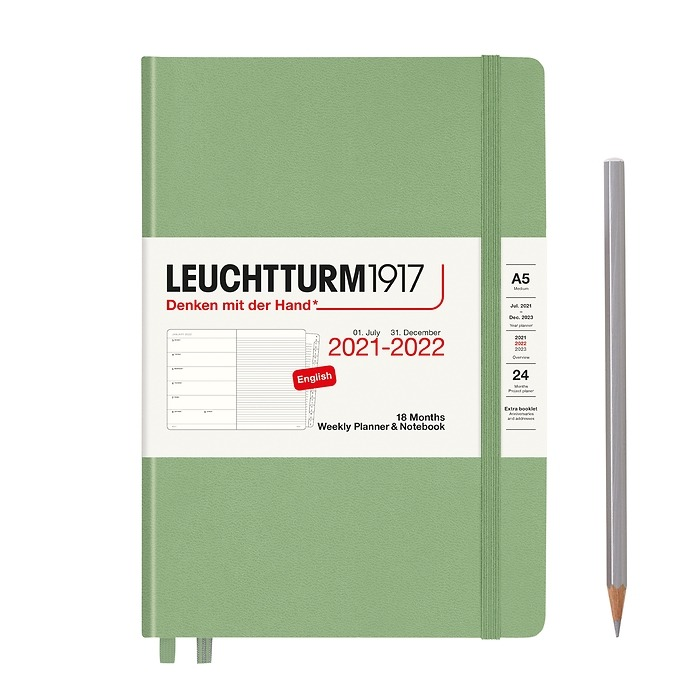 Weekly Planner & Notebook Medium (A5) 2022, with booklet, 18 Months, Sage, English