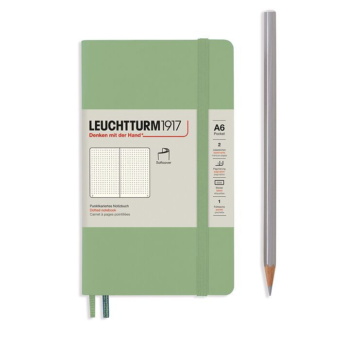 Notebook Pocket (A6), Softcover, 123 numbered pages, Sage, dotted
