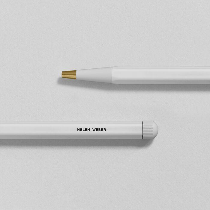 Drehgriffel Nr. 1, White - Gel pen with black ink