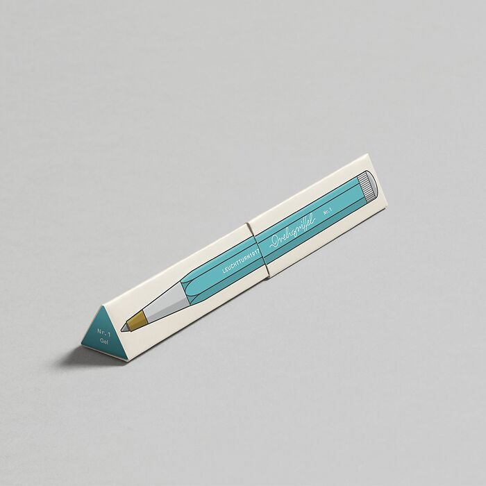 Drehgriffel Nr. 1, Aquamarine - Gel pen with black ink