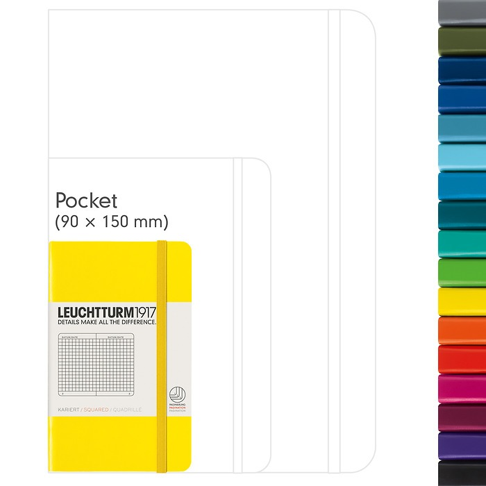 Notebook Pocket (A6), Hardcover, 185 numbered pages (3 1/2 x 6 in)