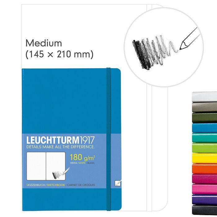 Sketchbook Medium (A5), Hardcover, 96 white pages (180 g/sqm) (5 3/4 x 8 1/4 in)
