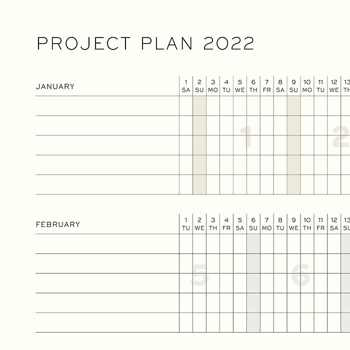 Week Planner, 12-Month, 2022, English